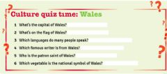 Interactive worksheet Culture quiz about Wales