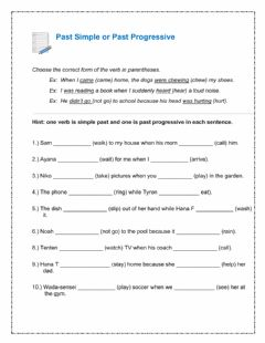 Interactive worksheet Past simple or Past progressive
