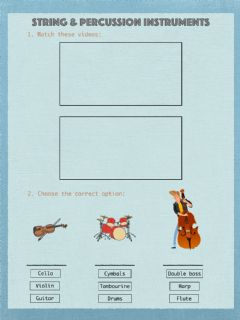 Interactive worksheet String & Percussion instruments