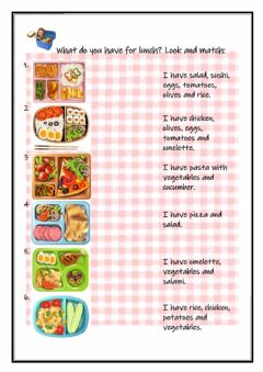 Interactive worksheet What do you have for lunch?