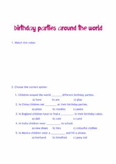 Ficha interactiva Birthday parties around the world
