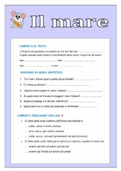 Interactive worksheet Il mare