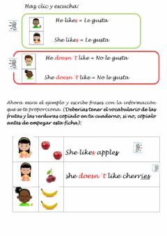 Interactive worksheet Food: Writing: He-she likes-doesn't like