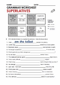 Interactive worksheet Superlatives