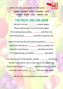 Interactive worksheet The fruit and veg song