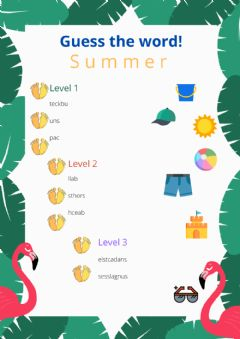 Interactive worksheet Summer: Guess the words 2