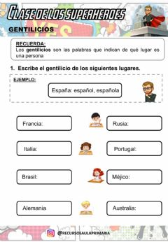 Interactive worksheet Gentilicios
