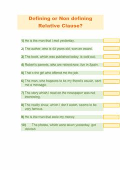 Interactive worksheet Defining vs Non defining Relative Clause
