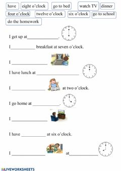 Interactive worksheet Daily routine - basic vocab