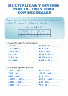Interactive worksheet Multiplicar y dividir por 10, 100 y 1000