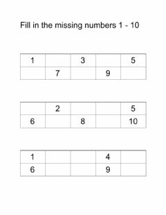 Interactive worksheet Fill in the missing numbers 1 - 10