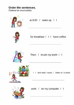 Interactive worksheet My routine: order the sentences