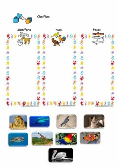 Interactive worksheet Mamíferos, peces y aves