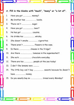 Interactive worksheet Quantifiers- Much, many, a lot of