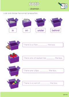 Ficha interactiva Prepositions and food