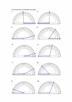 Interactive worksheet angles with protractor