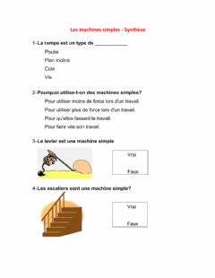 Interactive worksheet Les machines simples - Synthèse
