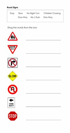 Interactive worksheet Road Signs Drag and Drop