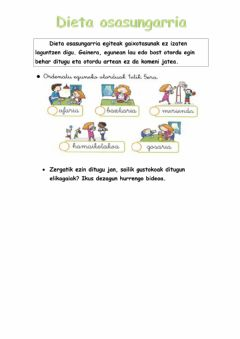 Interactive worksheet Dieta osasungarria