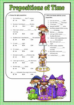Interactive worksheet Preposition of Time: At On In