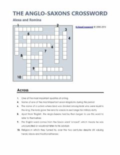 Interactive worksheet Anglo-Saxons crossword
