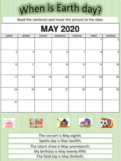 Interactive worksheet When is Earth Day? Calendar