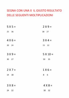 Interactive worksheet Tabelline fino a 5