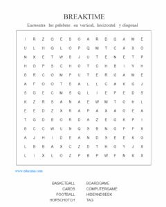 Ficha interactiva Wordsearch breajk time