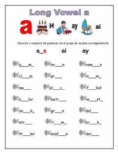 Interactive worksheet Long vowel a