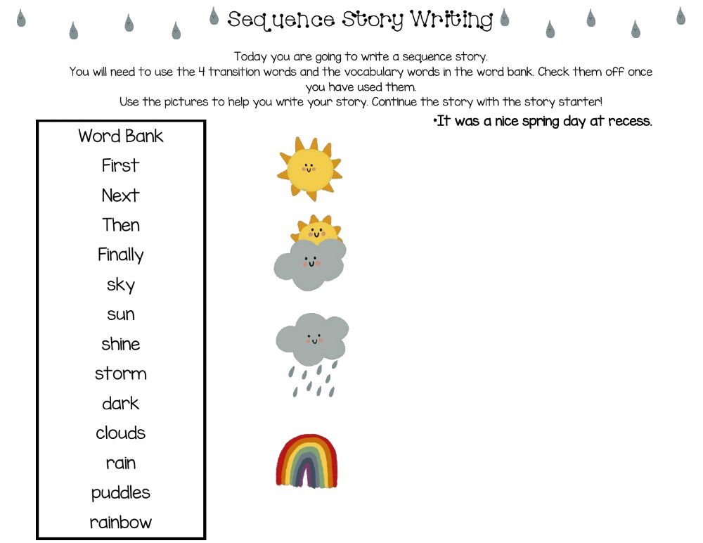 Sequence Story Writing Worksheet
