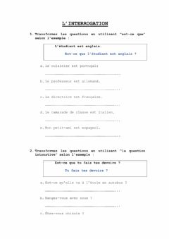 Interactive worksheet Le question