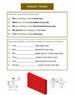 Interactive worksheet Present Tenses Pre-Movers