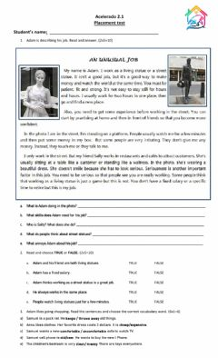 Interactive worksheet Placement test Adults