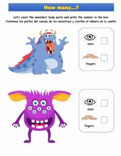 Interactive worksheet Kinder Monsters' body parts counting