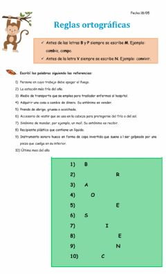 Interactive worksheet Regla ortográfica MP NV 1