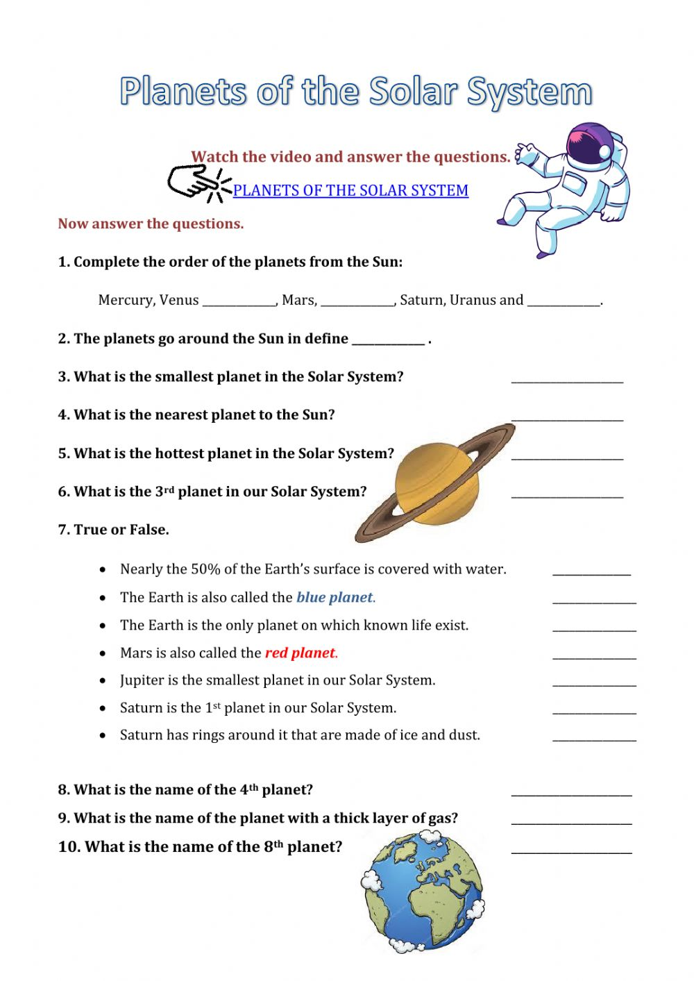 Planets of the solar system worksheet