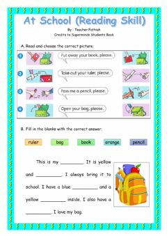 Interactive worksheet Things in the classroom (Reading skill)