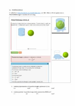 Interactive worksheet Prostornina krogle