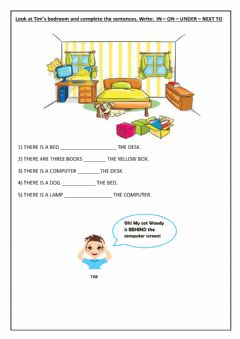 Interactive worksheet Complete using prepositions of place