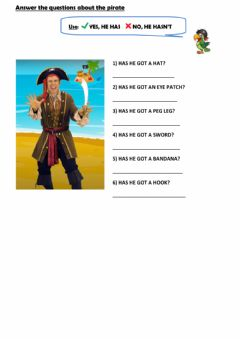 Interactive worksheet Pirates-questions and short answers