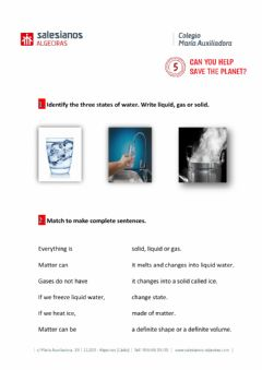 Interactive worksheet State of water, energy and mixtures