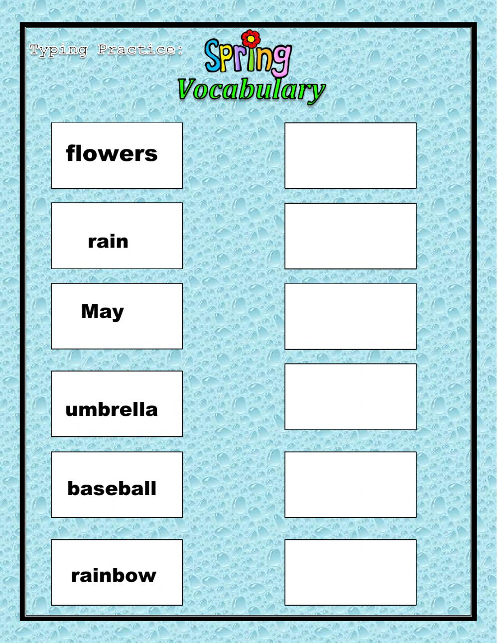 Spring Vocabulary Typing Practice Part 1 - Interactive ...