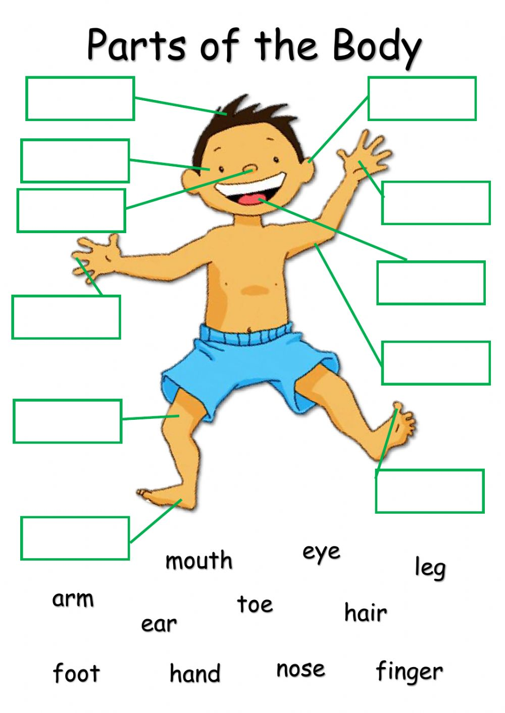 Body Parts online exercise for Grade 2