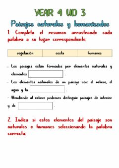 Interactive worksheet Paisaje natural y paisaje humanizado