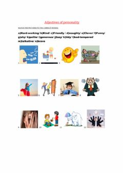 Interactive worksheet Adjectives of personality