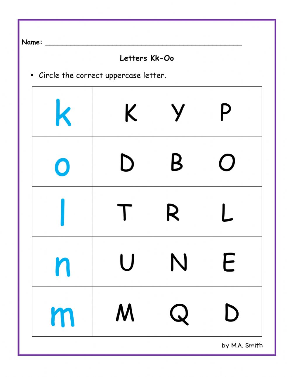 Letters K to O - Interactive worksheet