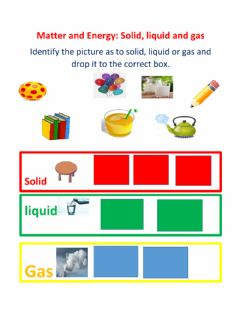 Interactive worksheet Matter and energy