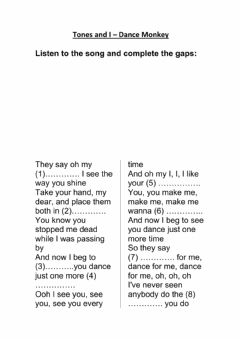 Interactive worksheet Dance Monkey Lyrics