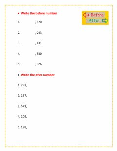 Interactive worksheet Find before and after number
