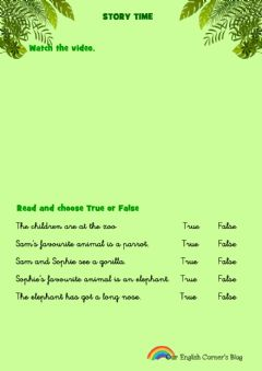 Interactive worksheet At the zoo story